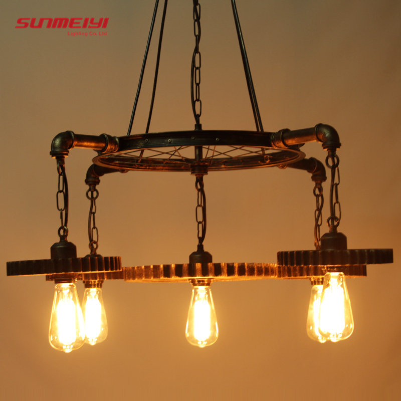 LOFT Metal Wheel Pendant Light Vintage Industrial Lighting American Aisle Lights Lamp 110V-220V Pendant Lamp Hanging For Bar wholesale loft industrial lighting lampara vintage lamp holder pendant light american aisle lights lamp edison bulb ac 110v 220v