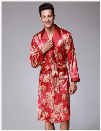 Luxury Men Bathrobes Sexy Satin Silk Robe Kimono Fashion Trend Long-Sleeved Robes Loungewear Sleepwear