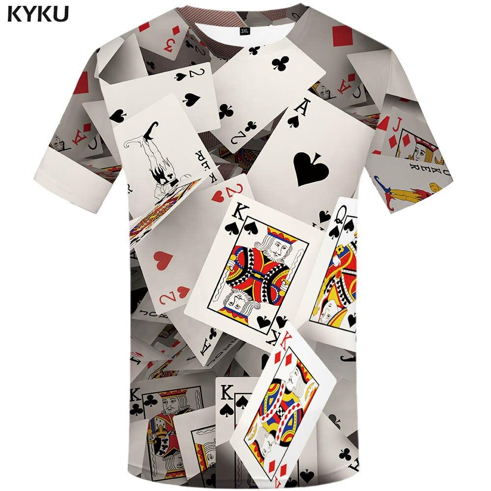 Мужская футболка с принтом 3D KYKU, белая футболка с объемным изображением игральных карт, лето 2019|3d t-shirt|brand t-shirtt-shirt brand | АлиЭкспресс