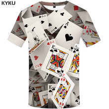 KYKU Brand Poker T shirt Playing Cards Clothes Gambling Shirts Las Vegas Tshirt Clothing Tops Men Funny 3d t-shirt(China)