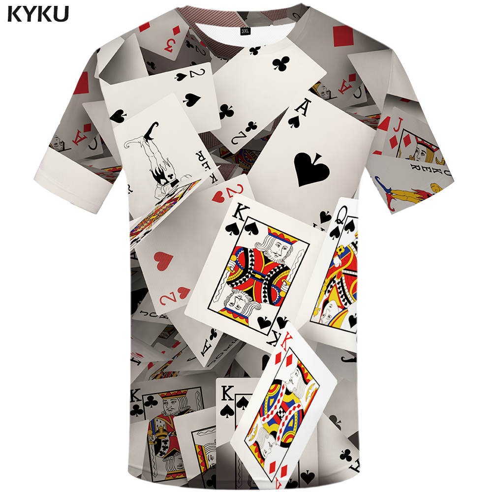 KYKU Brand Poker   T     shirt   Playing Cards Clothes Gambling   Shirts   Las Vegas Tshirt Clothing Tops Men Funny 3d   t  -  shirt