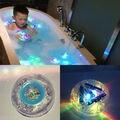 Engraçado bola brinquedo do banho do bebê à prova d' água led piscando pato de borracha amarelo flare-alai luminosa de cristal lindo presente para crianças