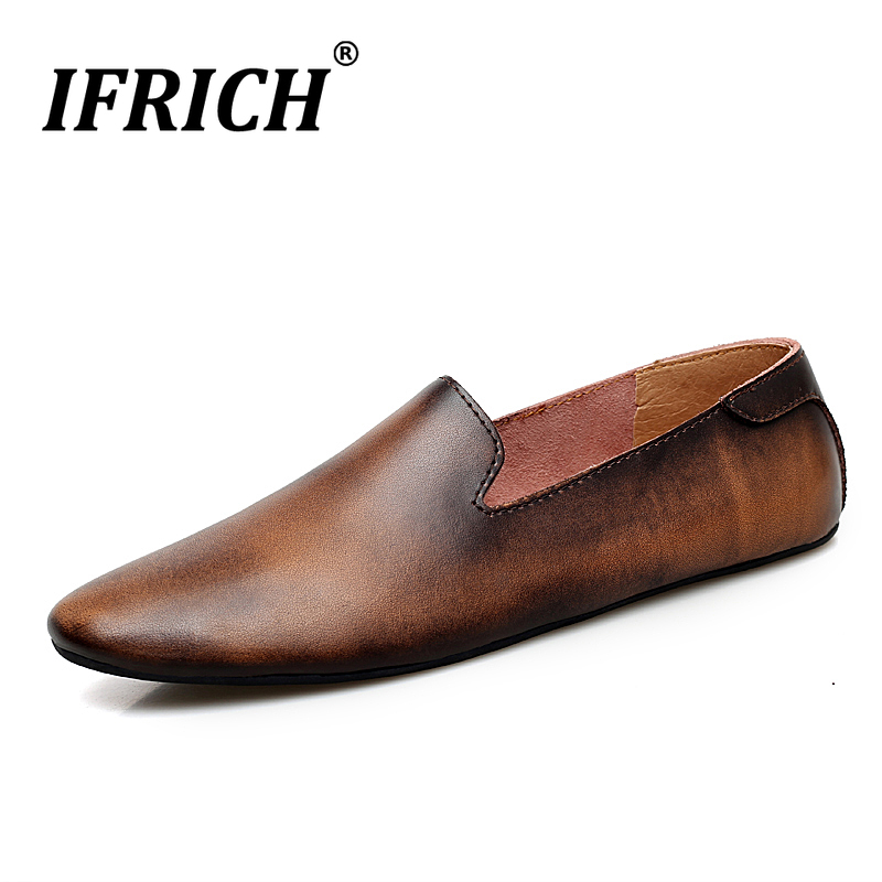 Popular Retro Casual Men Sneakers Slip On Footwear Brand Loafers For Men Black Gray Leather Man Sneakers Soft Driving Moccasin in Men 39 s Casual Shoes from Shoes