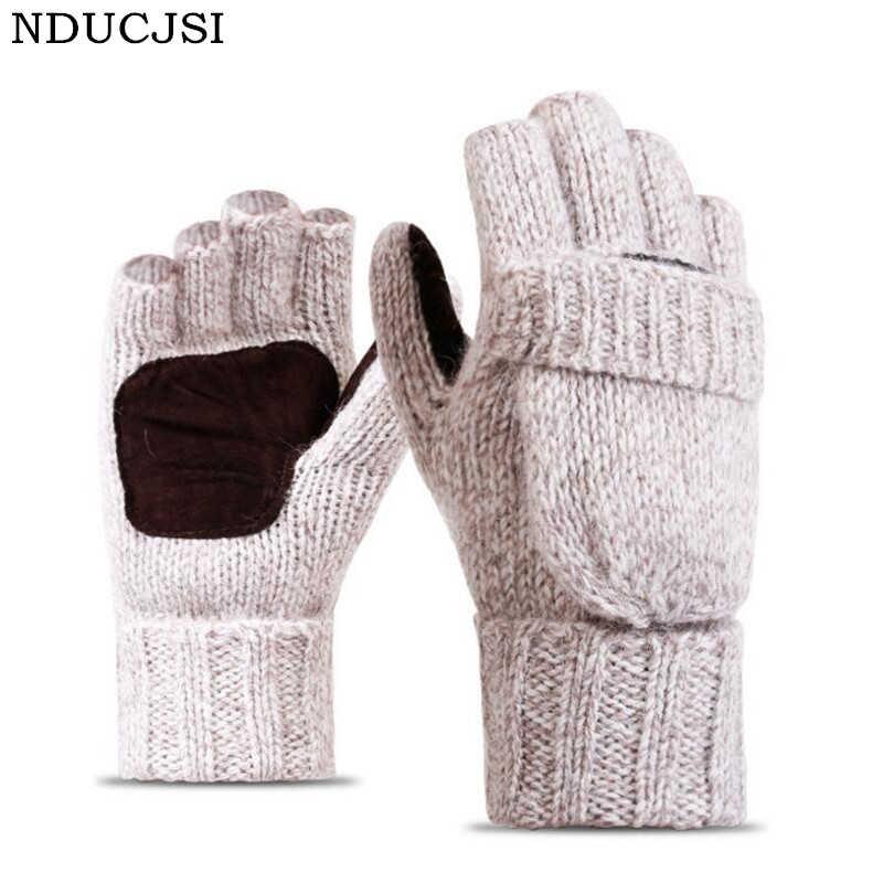 3bf8c84236c9e NDUCJSI Winter Warm Exposed Finger Mittens Knitted Warm Flip Half Finger  Gloves Men Women Wool Work