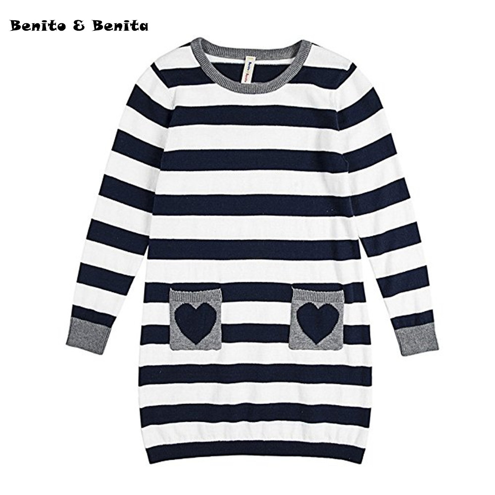 Benito & Benita Girls' Pullover Sweater Kids Clothes Striped Cotton Dress Sweater Baby Girl Clothes With Pockets Vestidos Mujer