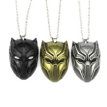 Film Marvel Black Panther Collana Re di Wakanda T'challa Pendenti con Gemme E Perle Collane Wakanda Pantera Nera Maschera Accessori Dei Monili(China)