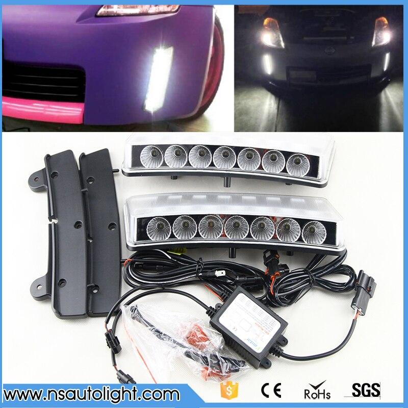 For Nissan 2003-2005 350Z Clear 7-LED Front Bumper Reflector Daytime Running Lights авита ру продать камаз зерновоз 2003 2005 года