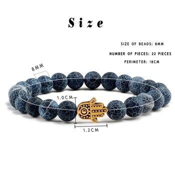 Charms Men Black Lava Matte Beads Natural Volcanic Stone Bracelets Bangles Women Yoga Prayer Jewelry Gold Sliver Hand Bracelet 4