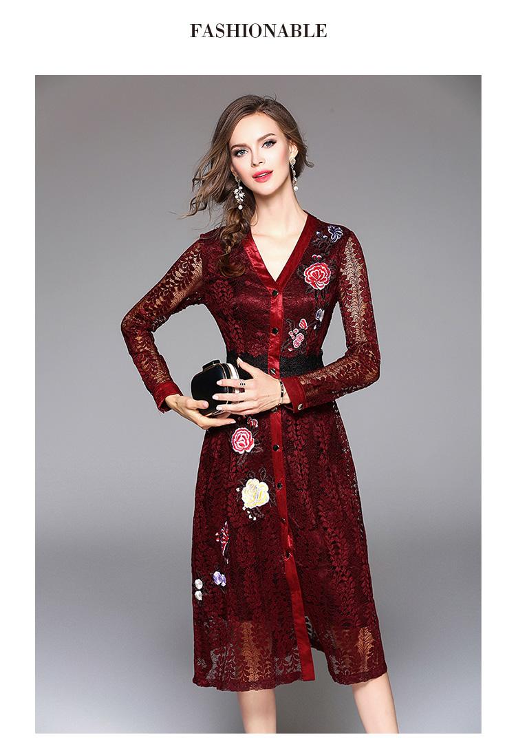 Sky Blue V-neck Floral Embroidered Lace Dress Autumn Dresses Women 2018 Vestido De Festa Hollow Out Christmas Dress K945180 6