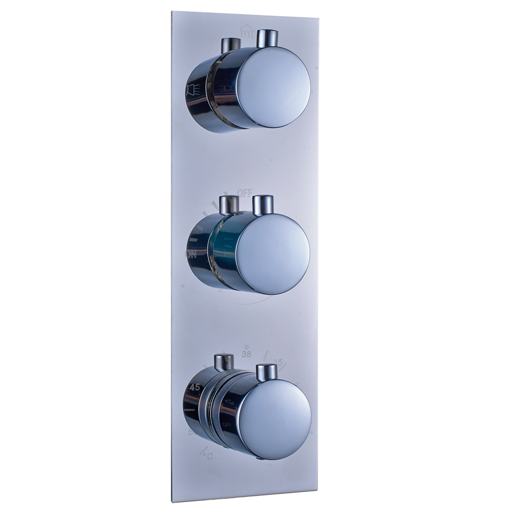 Chrome Bathroom Thermostatic Mixer Shower Faucet Set Three Handles ...