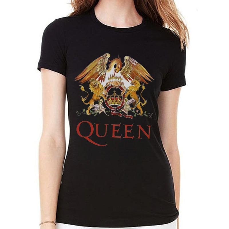 Rocksir 2018 Banda de Rock QUEEN Impresso Camisetas Mulheres Marca Harajuku Camisetas De Algodão Verão Hipster Femme Casual Streetwear Tops