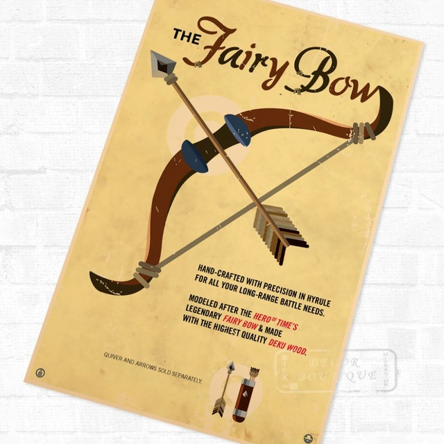 The Fairy Bow the Legend of Zelda Video Game Poster Retro Canvas ...