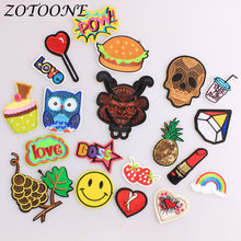 ZOTOONE Iron on Patches for Clothing Sequin Punk Skull Pineapple Letter Owl Embroidery Patch Applique Clothes Decoration Pride E