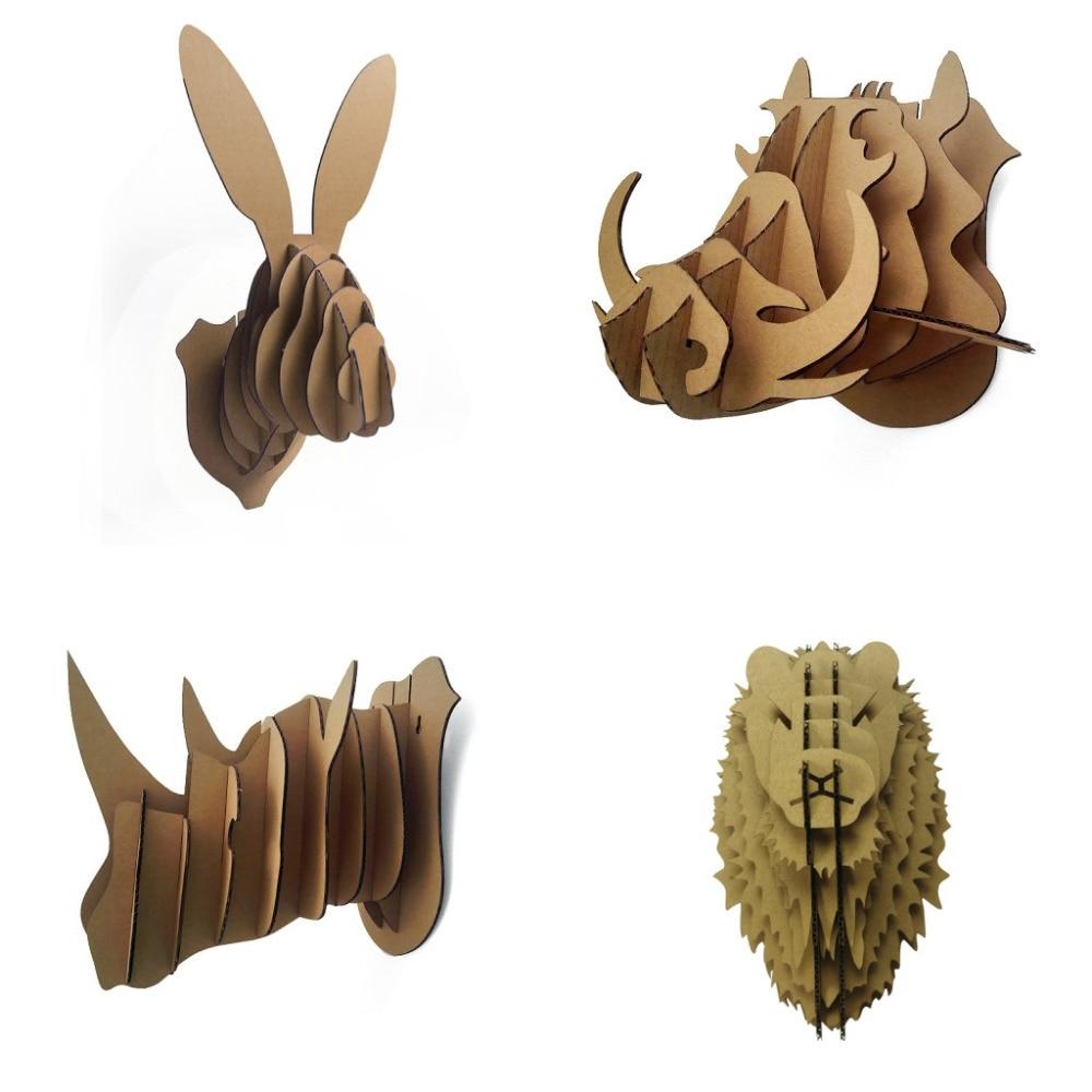 ФОТО 4Piece 3D Animal Model Wall Decor Easter Rabbit Rhino Lion Wild Hogs Head Wall Hanging Kids' Creative DIY Toy Nice Home Display