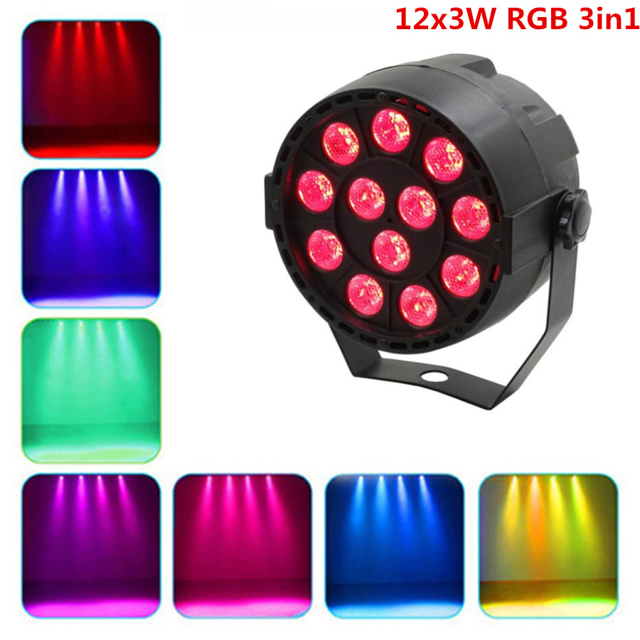 Par Light 12LED RGB 3IN1 12x4W UV Stage Lighting Effect DMX 512 Club Disco Party Ballroom KTV Bar Wedding DJ Projector Spotlight