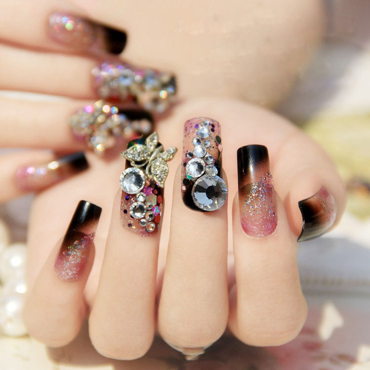 medium length purple glitter nail