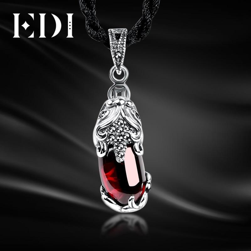 Unique 100% 925 Sterling Silver Garnet Gemstone Locket Vintage Pendant Necklace Women Fine Jewelry