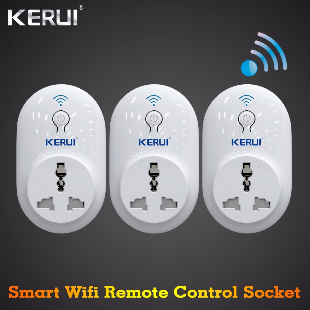 3 pcs Kerui Wireless Remote Wifi Socket Switch Smart Power Plug 433MHz EU US UK AU Standard for Home Security Alarm System wireless smart socket power control appliance control switch compatible with home security 868mhz x6 alarm system eu uk us plug