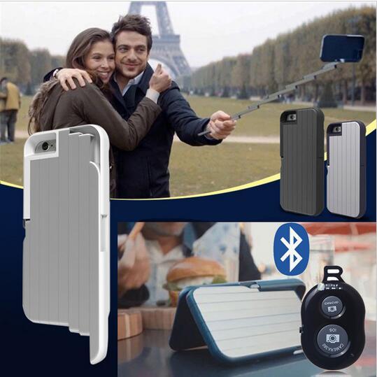 imágenes para Yocase 3 en 1 Autofoto Palo Caja Del Teléfono para el iphone 6 6 S 7 Plus Remoto Bluetooth Del Teléfono Multifunción De Aluminio Plegable obturador