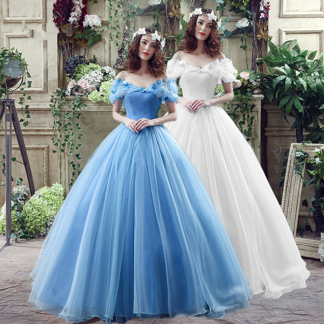 Bridal New Movie Deluxe Adult Cinderella Wedding Dresses Blue Ball Gown Dress