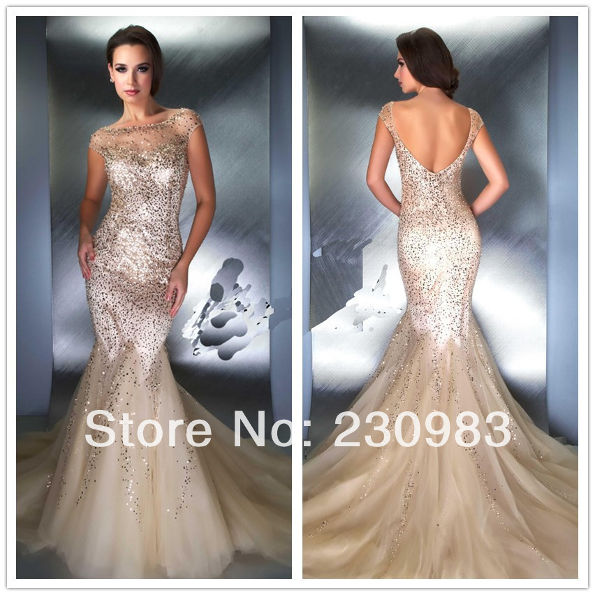 Glamorous Sheer Scoop Neckline Nude Fully Sequined Long Mermaid Evening Dress 2014 Special Formal Party Prom Gowns - Abby's Bridal Studio store