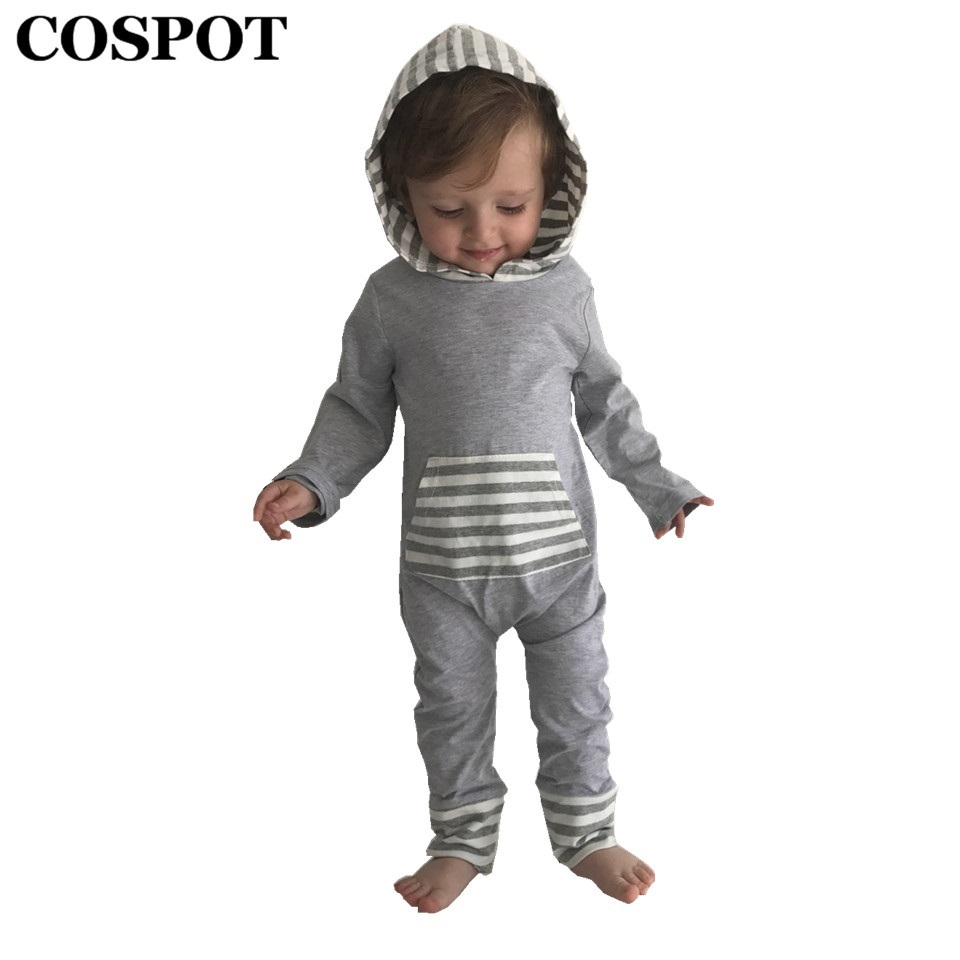 COSPOT Kids Autumn Harem Rompers with Hooded Boys Cotton Striped Jumpsuits Newborn Fashion Jumper 2018 New Arrival Free Ship 25E