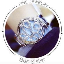 2017 BS Marca Rhinestone Diseño de la Cubierta de Armadura de Metal Reloj mujer Vestido Niñas Brazalete de la Pulsera de reloj de Cuarzo Ocasional de las mujeres Calientes