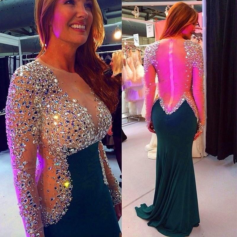 Buy Luxurious Long Sleeve Mermaid Evening Dresses Party Women Beaded Custom Made Beautiful Formal Evening Gowns Dresses Wear