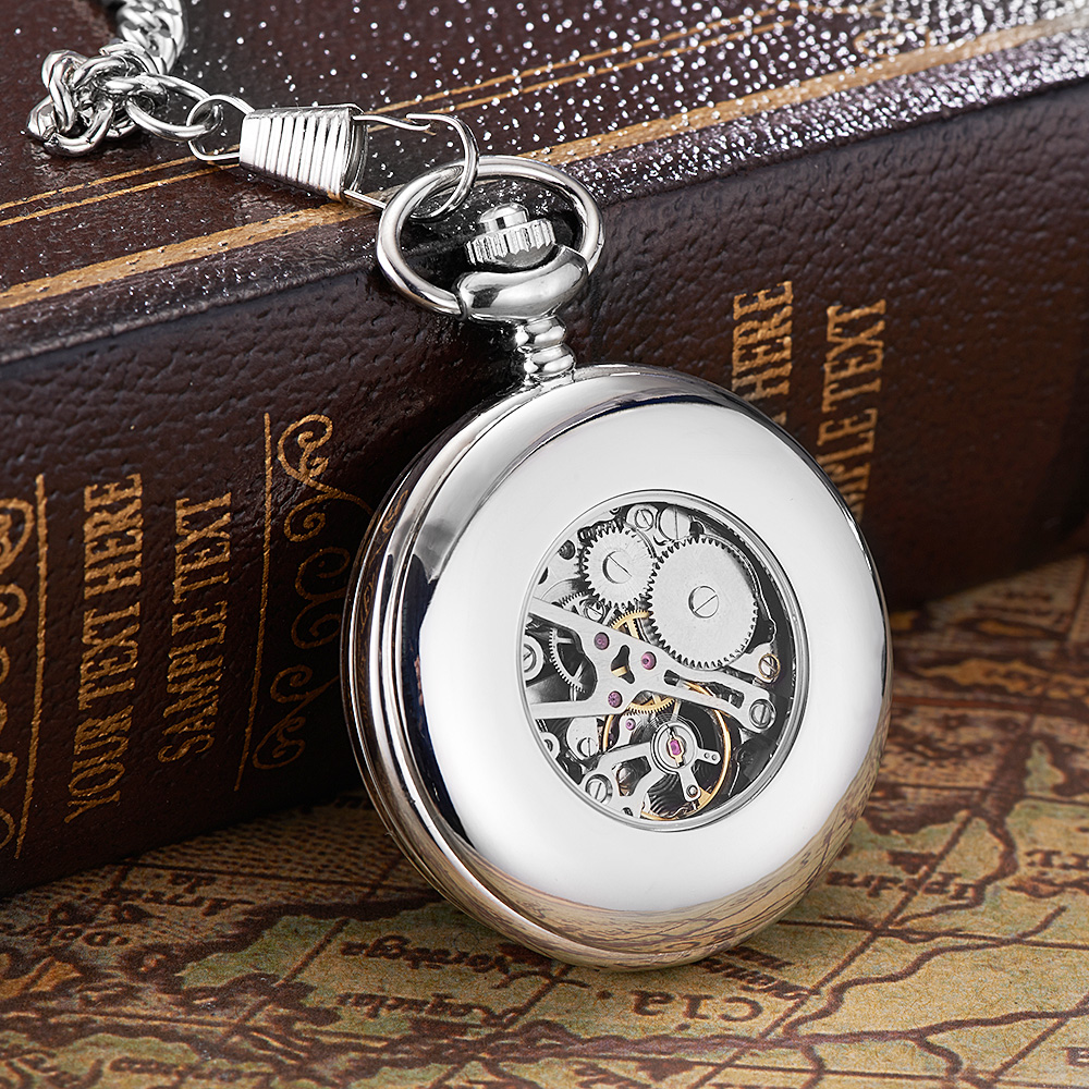 Image 5 - New OYW Brand Stainless Steel Men Fashion Casual Pocket Watch Skeleton dial Silver Hand Wind Mechanical Male Fob Chain Watches-in Pocket & Fob Watches from Watches