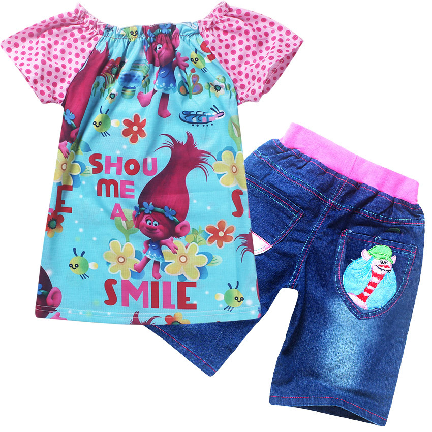 2017 New Summer Children clothing Suit Girls Trolls cartoon clothes set kids casual set short sleeve T-shirt and jean shorts 2016 3 7y kids girls t shirt summer cartoon elsa and anna baby gilr clothes t shirt short sleeve for children girl tops clothing