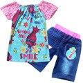 2017 New Summer Children clothing Suit Girls Trolls cartoon clothes set kids casual set short sleeve T-shirt and jean shorts