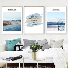 Tranquil Lake Tree Mountain Road Quotes Wall Art Canvas Painting Nordic Posters And Prints Pictures For Living Room Decor