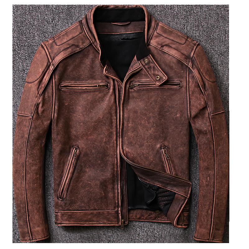 HARLEY DAMSON Vintage Brown Men Retro Bikers Leather Jacket Plus Size XXXL Genuine Thick Cowhide Slim Fit Leather Coat