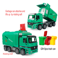 New inertia car Hand crank Toy garbage truck garbage can +3pcs Trash Cans