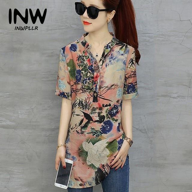 b622d167586ef Plus Size Tops Womens Vintage Floral Print Blouses Mujer Short Sleeve  Shirts Casual Cotton Linen Blusas Long Chemise Femme