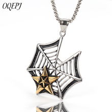OQEPJ Gothic Witchcraft Pentagram Spider Web Necklaces Pendant 316L Stainless Steel Men Necklace Gold/Silver Color Broken Cobwed