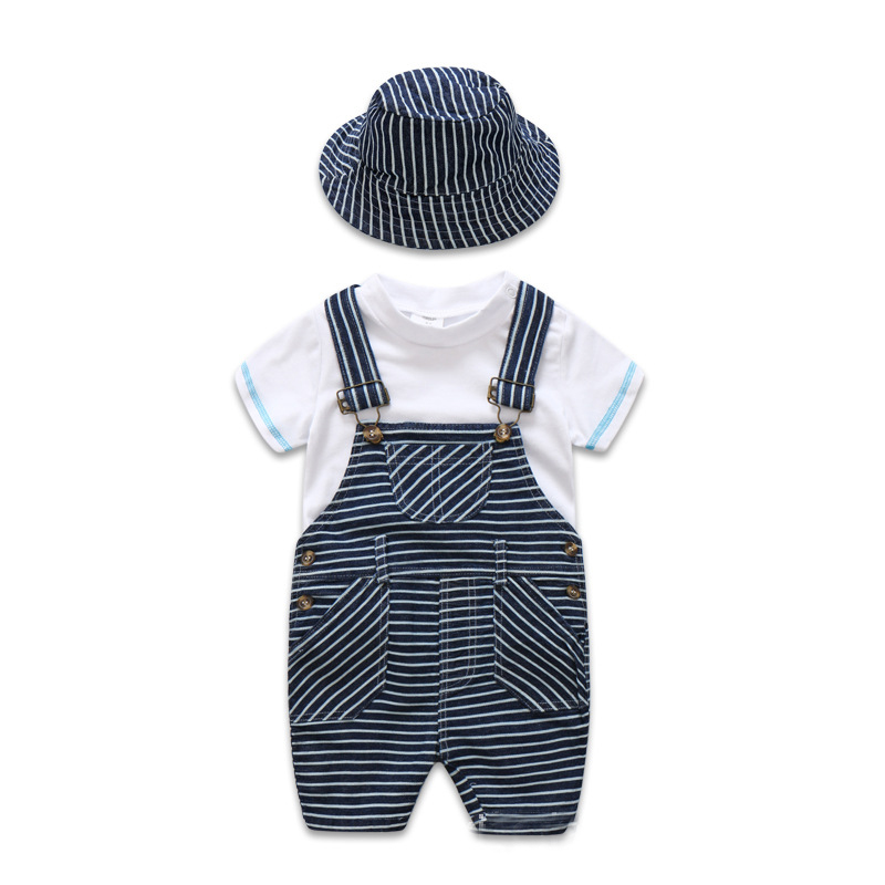Newborn Baby Clothes Cotton Boys Suit Sets white t-shirt + Striped Hat + Overalls Outfits Set Casual Boy Clothes Summer