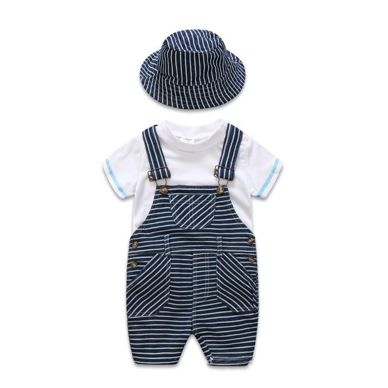Newborn Baby Clothes Cotton Boys Suit Sets white t-shirt + Striped Hat + Overalls Outfits Set Casual Boy Clothes Summer newborn kids baby boy summer clothes set t shirt tops pants outfits boys sets 2pcs 0 3y camouflage