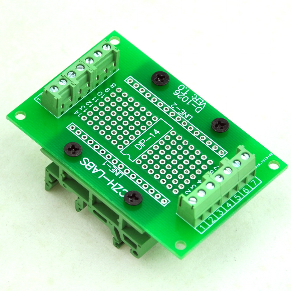 DIP-14 Component to Screw Terminal Adapter PCB, w/Simple DIN Rail Mount Bracket.