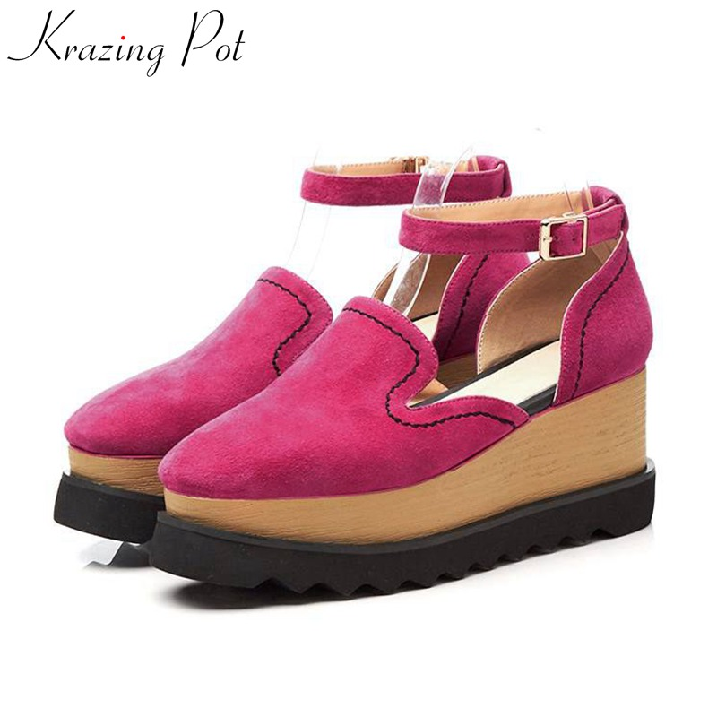 Krazing Pot 2018 sheep suede high street fashion round toe women pumps wedges superstar buckle straps casual increased shoes L05