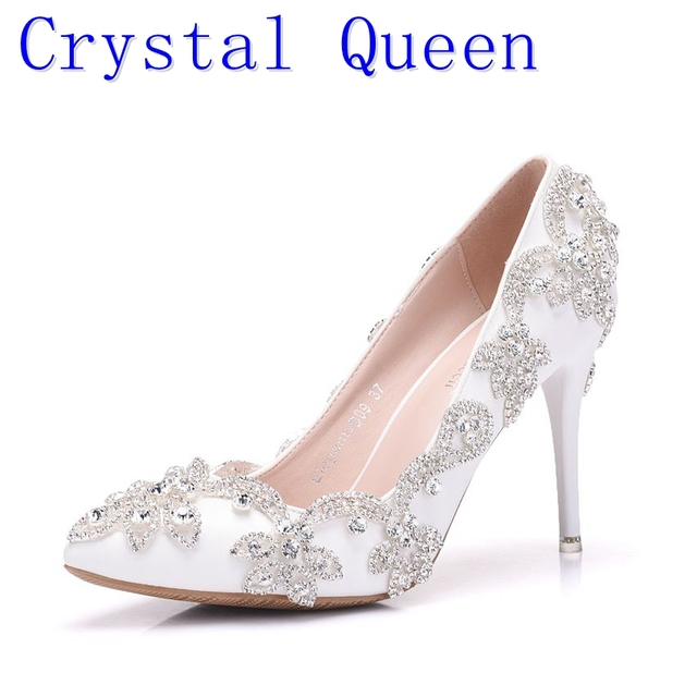 82d34e4e275 Crystal Queen 9 CM Pumps White Diamond Wedding Shoes High Heels with Fine  Crystal Bride Dress Shoes Sandals Women s Shoes
