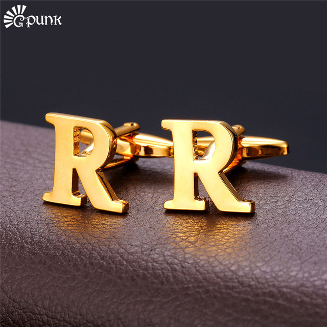 Alphabet R Letter Golden Silver Cufflink For men