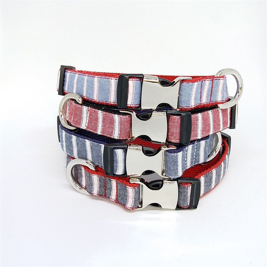 stripe bow tie pet dog collar slide on removable handmade accessory, dog and cat pet supplies
