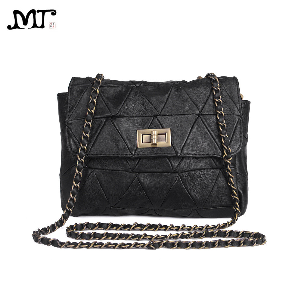 MJ Brand Genuine Leather Women Messenger Bag Patchwork Sheepskin Leather Shoulder Bags Women Crossbody Bag Ladies Chain Handbag threepeas patchwork shoulder bag cow leather handbag women genuine leather messenger bag crossbody