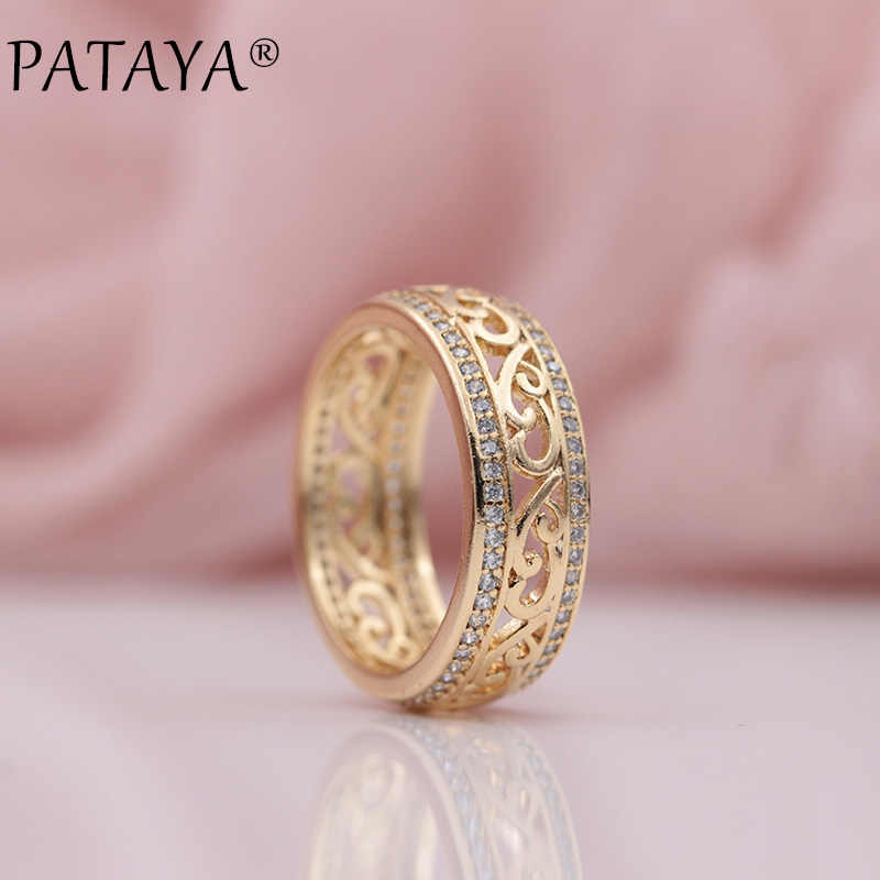 PATAYA Nuovi Arrivi 585 In Oro Rosa Doppia Fila Micro-cera Intarsio Zircone Naturale Hollow Anelli Donne Wedding Party Alla Moda Fine Jewelry