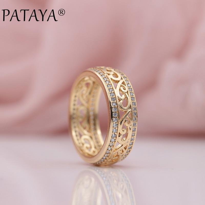PATAYA Neuheiten 585 Rose Gold Zweireihig Micro-wachs Inlay Natürliche Zirkon Hohle Ringe Frauen Hochzeitsgesellschaft Trendigen edlen Schmuck