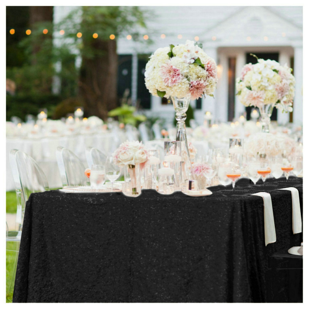 Shinybeauty 70x70in Rectangle Black Sequin Tablecloth 180*180cm Sequin Table Linen for Wedding/Party Decoration