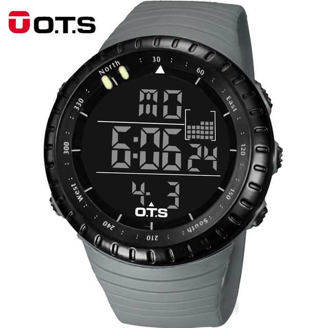 OTS Refrescan Negro Relojes Digitales deportes para hombre 50 M Impermeable Profesional Gran dial horas LED Luminoso reloj militar Al Aire Libre