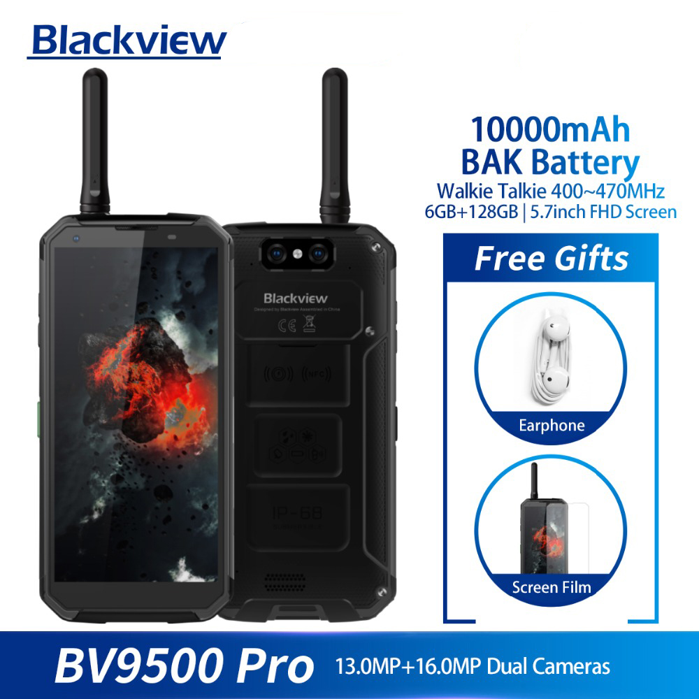 "Blackview BV9500 Pro Mobile Phone Android 8.1 Octa Core 5.7"" 18:9 MTK6763T 6GB RAM 128GB ROM IP68 Waterproof Smartphone NFC OTG"
