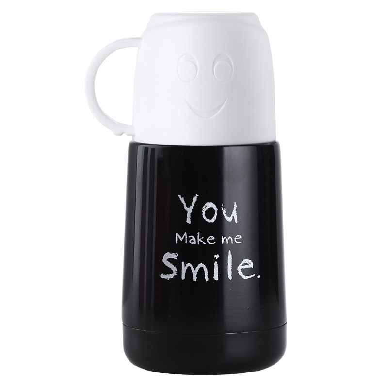 Mini <font><b>Baby</b></font> Stainless Steel Feeding Thermos cup Double Use Vacuum Flask Smile Girls leak-<font><b>poof</b></font> Insulated milk Bottle 210ML image